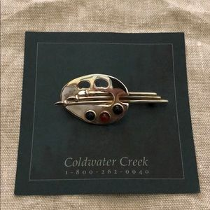 Coldwater Creek Sterling Silver Art Palette Pin